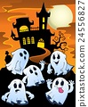 Ghosts near haunted house theme 1 24556827