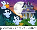 Ghosts near haunted house theme 3 24556829