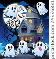 Ghosts near haunted house theme 5 24556831