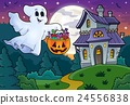 Halloween ghost near haunted house 1 24556838