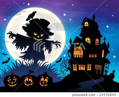 Halloween scarecrow silhouette theme 1 24556844