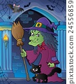 Witch with cat and broom theme image 5 24556859