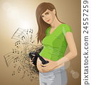 Vector Pregnant Woman With Headphones 24557259