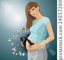 Vector Pregnant Woman With Headphones 24557260