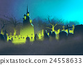 spooky castle,Halloween concept,cemetery at night 24558633