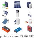 Home solar energy equipment isometric icon set 24562287
