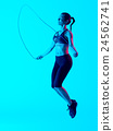 woman jumping rope  fitness exercices isolated 24562741