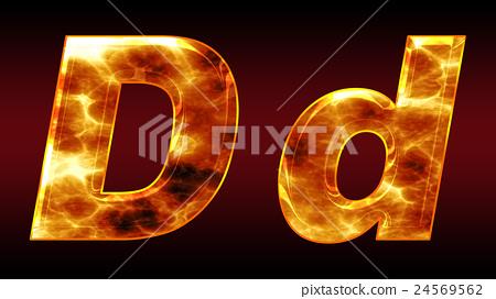炫彩3D字體在黑暗的背景:字母D(高分辨率 3D CG 渲染∕著色插圖) 24569562