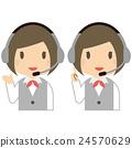 穿着灰色制服戴着耳机女性上半身 24570629
