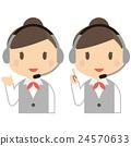 女性上身穿着灰色制服与耳机 24570633