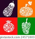 Vegetables of vegetables icon set color 24571603