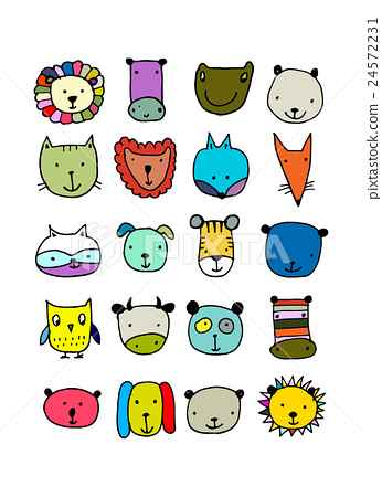 Set of animal faces, sketch for your design 24572231