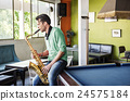 Jazzman Musical Artist Playing Saxophone Concept 24575184