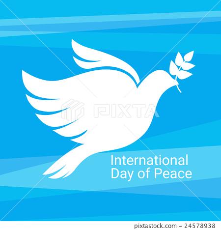World Peace Day Poster White Dove Bird Symbol Stock Illustration