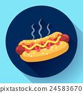 Hot Dog vector icon. hotdog flat fast food 24583670