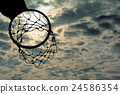Silhouette of basketball hoop with dramatic sky 24586354