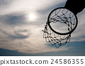 Silhouette of basketball hoop with dramatic sky 24586355