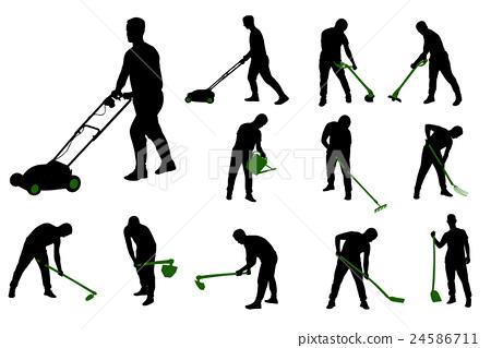gardening work silhouettes 24586711