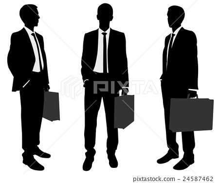 businessman holding briefcase silhouettes 24587462
