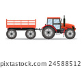 green tractor with semi-trailer 24588512