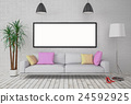 Mock up blank poster on the wall with lamp  24592925