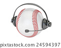 baseball ball with headset or headphones  24594397