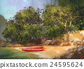 painting of tropical beach,scenery,illustration 24595624