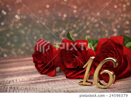 birthday concept with red roses on wooden desk 24596379