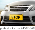 Stop words on license plate 24598649