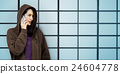 Behind Criminal Female Spying Undercover Staring Concept 24604778