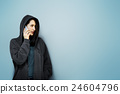 Behind Criminal Female Spying Undercover Staring Concept 24604796