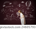 Blackboard Drawing Creative Imagination Idea Concept 24605793