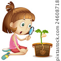 Girl observing plant growing in pot 24608718