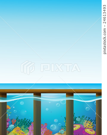 Scene with blue sea and underwater 24613493