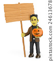 3D Funny monster with a blank wooden sign 24613678