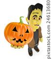3D Funny monster. Frankenstein with a big pumpkin 24613680
