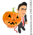3D Funny monster. Devil with a big pumpkin 24613681