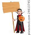 3D Funny monster. Vampire with a blank wooden sign 24613745