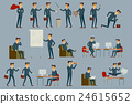 young cartoon businessman in blue suit vector 24615652