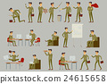 Vector set brown character businessman in gray  24615658