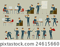 Set of six vector illustration of businessman  24615660