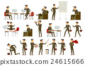 Vector set brown character businessman in gray 24615666