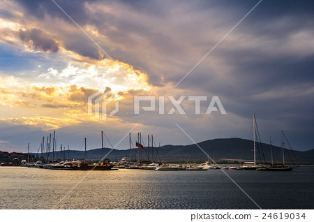 boats in port of Sozopol  at sunset 24619034