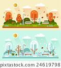 Winter and autumn park landscapes 24619798