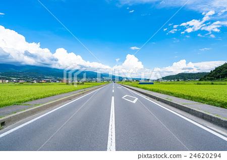[長野縣]穿過鄉村的直路 24620294