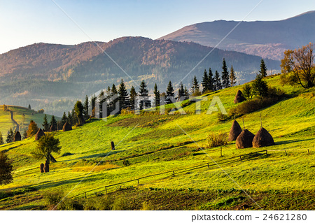 agricultural field with haystack on hillside 24621280