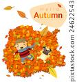 Hello autumn background with little boy 4 24622543
