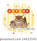 Hello autumn background with owl family 24622545