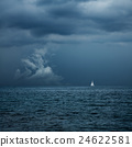 Boat Sailing in Center of Storm Formation 24622581