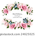 Natural vintage greeting frame with roses. Vector. 24625025